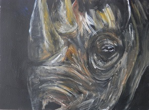 black and yellow rhino art, black and yellow wildlife art