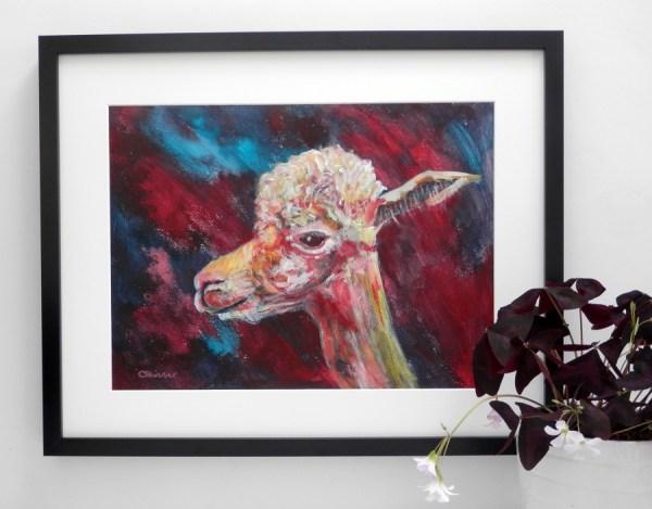 llama art, red alpaca print, red and blue alpaca painting,, smiling alpaca painting