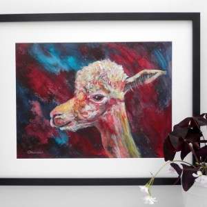 llama art, red alpaca print, red and blue alpaca painting,, smiling alpaca painting