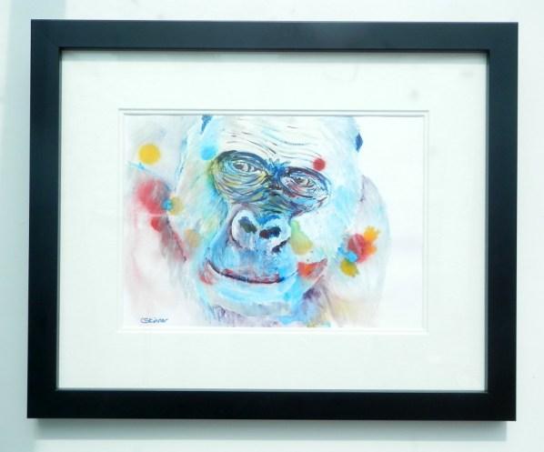 western lowland gorilla, blue gorilla painting, acrylic gorilla art
