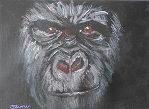 gorilla painting, gorilla art, ape art, red eyes, gorilla art print