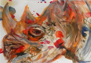 rhino gift, black rhino painting, colourful rhino painting, rhino art