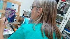 artist at work, painting an elephant, Caroline Skinner Art