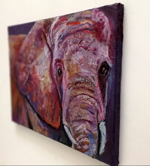 Ultra violet elephant painting, original acrylic canvas