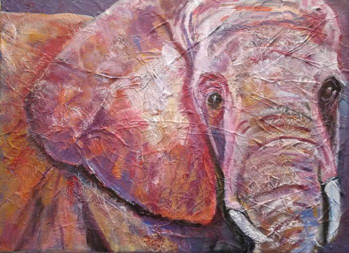 ultra violet elephant art, purple and pink elephant wall decor