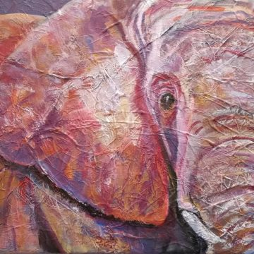 ultra violet elephant art, purple and pink elephant wall decor
