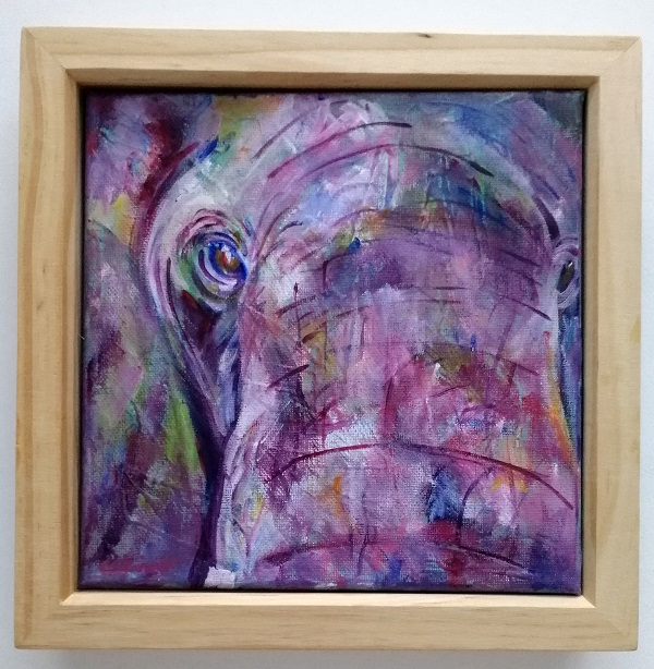 Up close elephant painting, elephant canvas, elephant gift, purple elephant up close