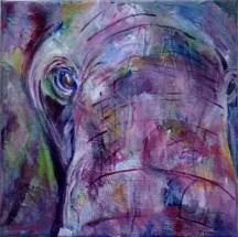 purple elephant painting, square elephant painting, framed elephant art, purple elephant up close