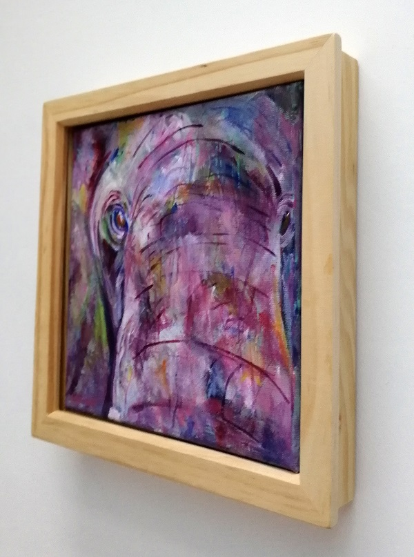 elephant painting, purple elephant, square acrylic canvas, elephant in close up, purple elephant up close