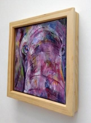elephant painting, purple elephant, square acrylic canvas, elephant in close up