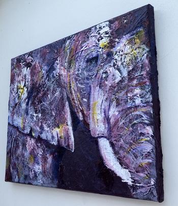 Acrylic purple elephant painting, purple elephant print, purple elephant home decor