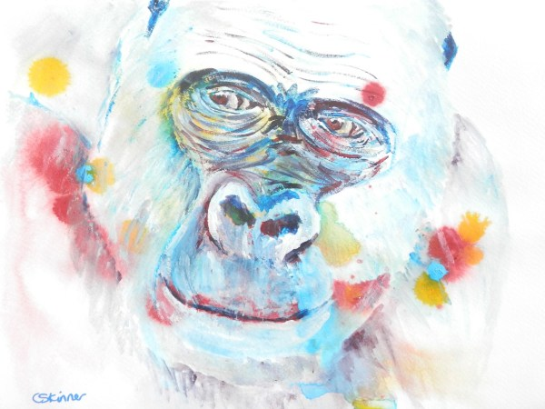 gorilla print, abstract ape art, gorilla gift, wildlife art
