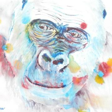 gorilla print, abstract ape art, gorilla gift, wildlife art