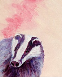 badger art, British wildlife painting, pink and purple home decor, pink and purple acrylic badger painting