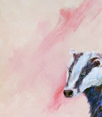 badger watch painting, Britishwildife art, pink bedroom decor, original badger painting