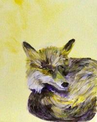 Fox painting, British Wildlife art, yellow animal decor, yellow fox painting