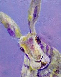 hare art, rabbit painting, purple animal home decor