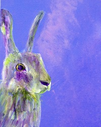 Purple hare painting, purplre animal giclee print
