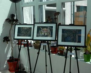 Surrey Artists' Open Studios, artwork on easels, Merstham open studio