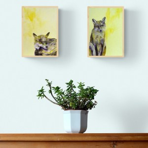 Fox paintings on box canvas with frames by Caroline Skinner Art
