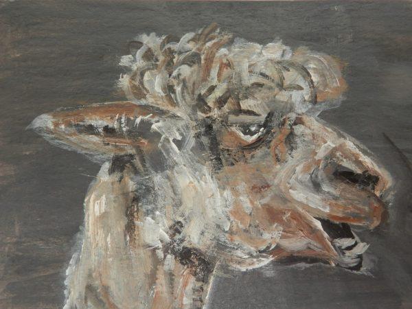 Miniature alpaca painting