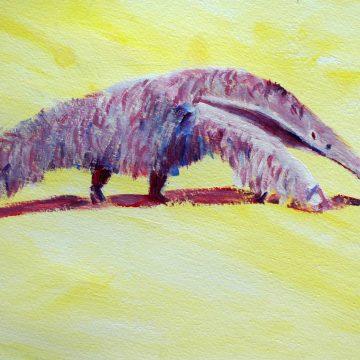 Giant anteater print, South American wildlife art, purple ant eater, yellow animal art