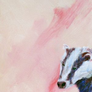 badger art, British wildlife painting