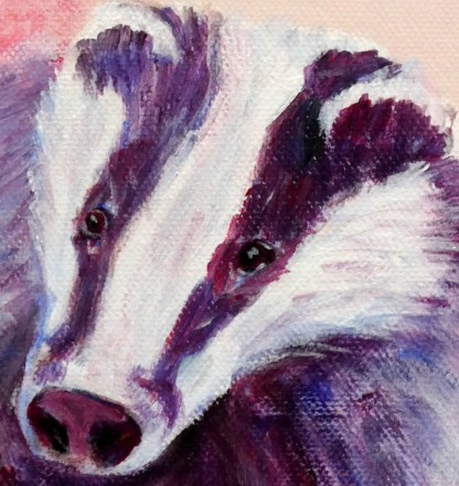 Badger artwork, pink and purple animal print, wildlife home decoration, purple badger art