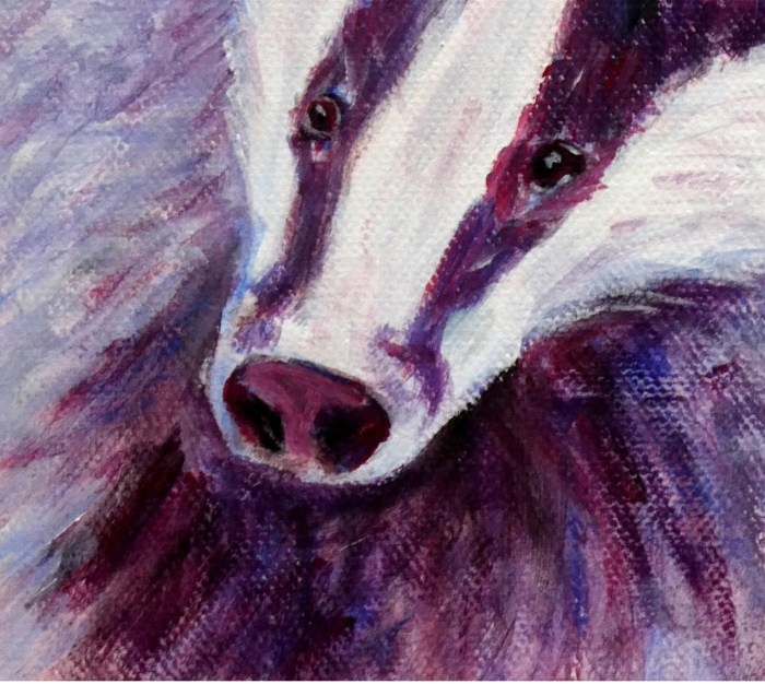 Pink and Purple badger art, wildlife print for child's room, cute animal art for nursery