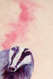 badger painting, pink wall art, British wildlife painting, acrylic box canvas, pink and purple acrylic badger painting