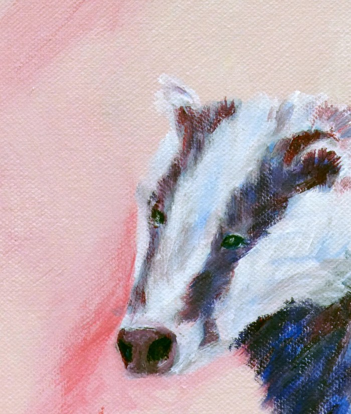 Badger art, pinka nd purple home decoration, British wildlife art print, pink animal art for nursery, animal art for children's bedroom