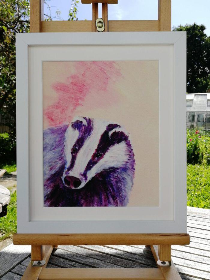 Pink and purple badger art print