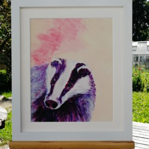 Pink and purple badger art print