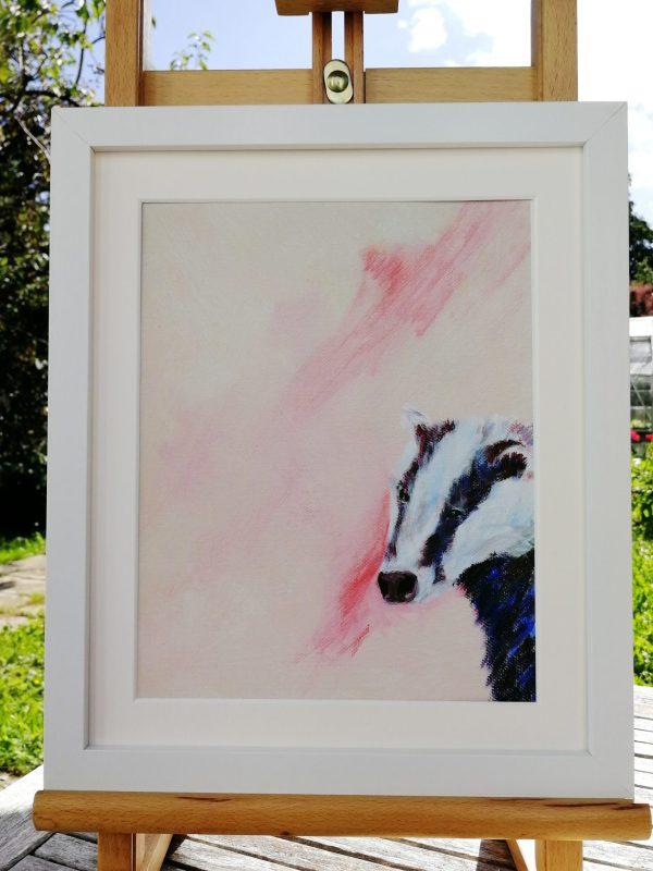 Pink badger art print