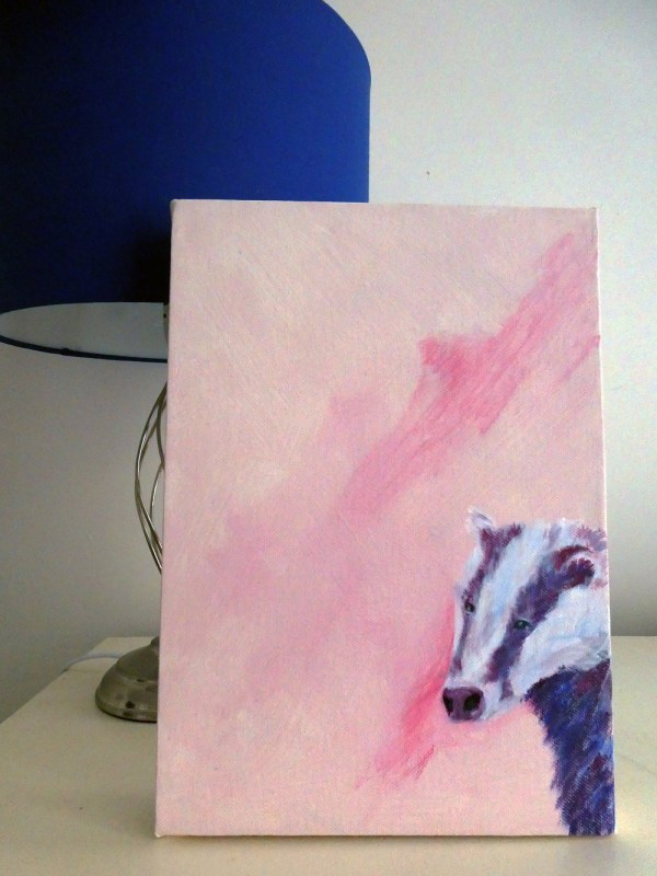Badger art canvas in pink and purple
