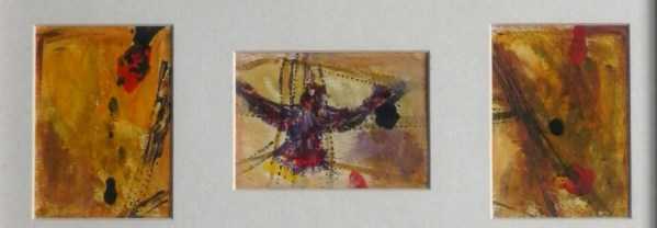 Golden yelloe birds painting, London landmark artwork, framed abstract bird painting