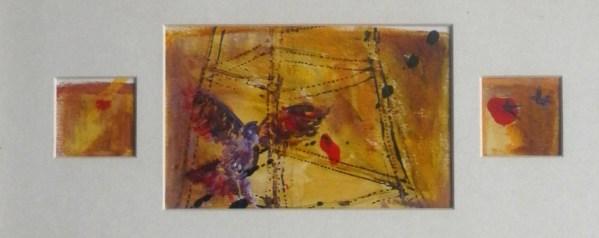 Orange birds painting, acrylic flying birds artwork