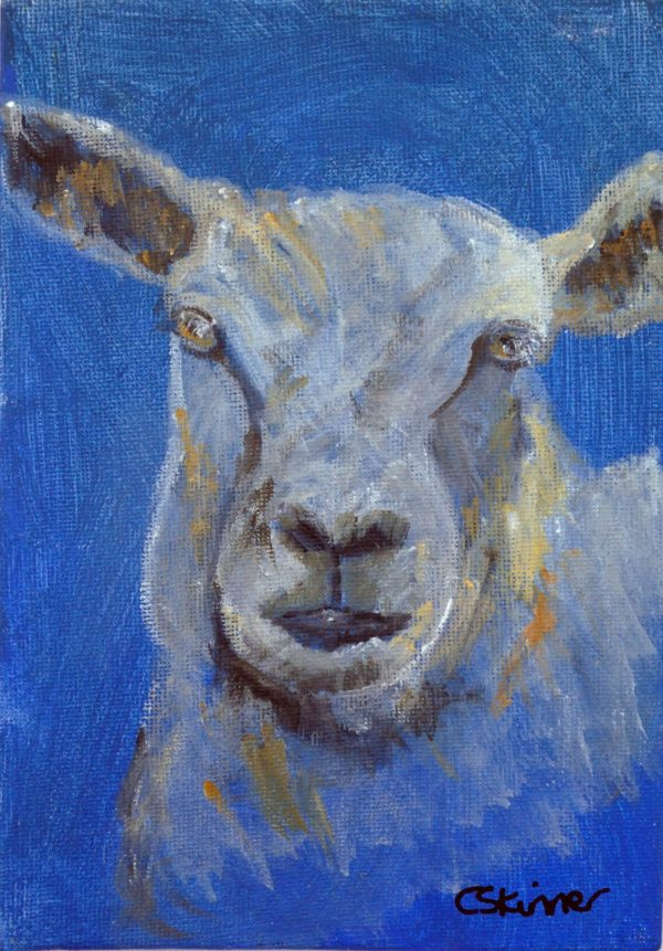 Blue sheep canvas painting, sheep art, framed farm animal art