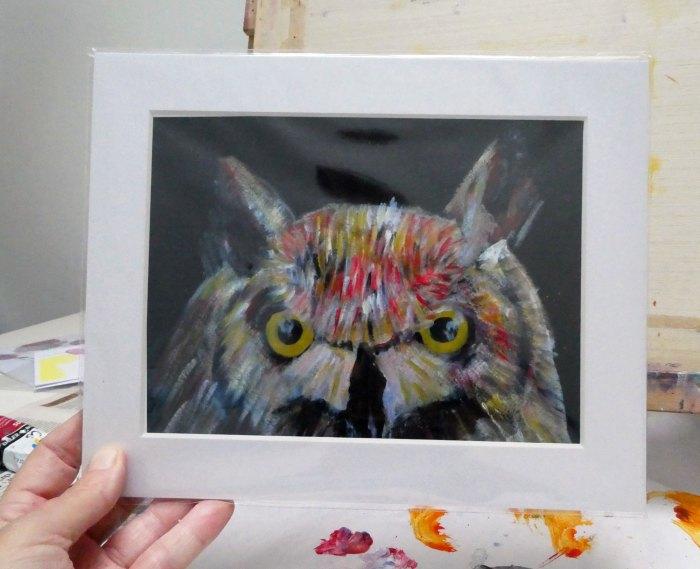 Whimsical owl print, colourful owl art, wild bird art print, bird of prey picture