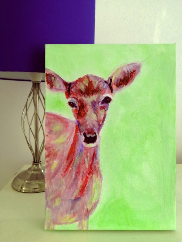 Green and red acrylic deer painting, doe painting, deer wall decor, red and green room decor