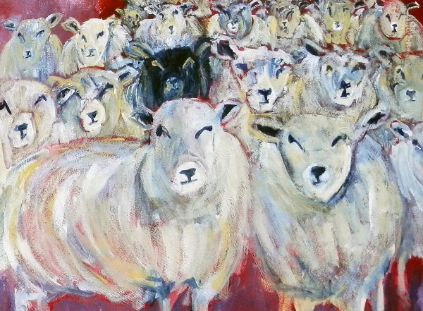 Flock of sheep art print, sheep art, black sheep, sheep print