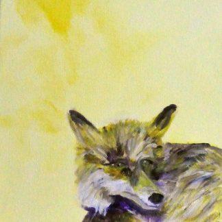 Woodland fox art, yellow wall decor, yellow fox painting, British wildlife art