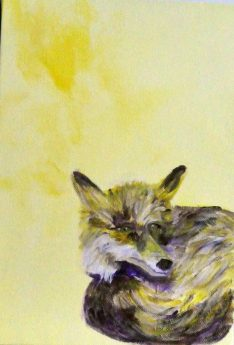 Woodland fox art, yellow wall decor, yellow fox painting, British wildlife art