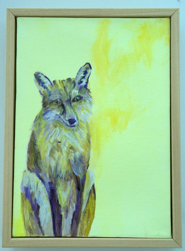 Fox painting on box canvas with light wood tray frame