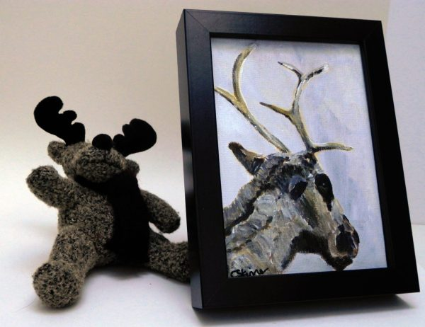 Framed reindeer painting, Christmas decor, muted coloured art, Christmas reindeer art