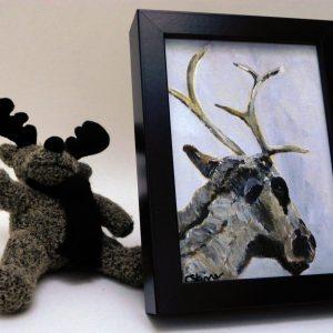 Framed reindeer painting, Christmas decor, muted coloured art, Christmas reindeer art