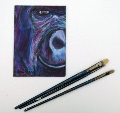 Smiling gorilla painting, purple ape art, gorilla wall decor, ape home decor