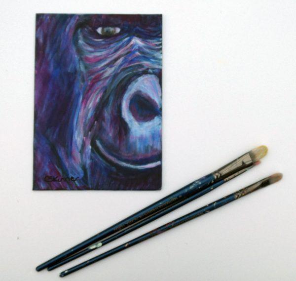 Smiling gorilla painting, purple ape art, gorilla wall decor, ape home decor