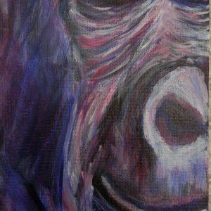 Smiling gorilla painting, purple ape wall art, gorilla portrait, small gorilla home decor