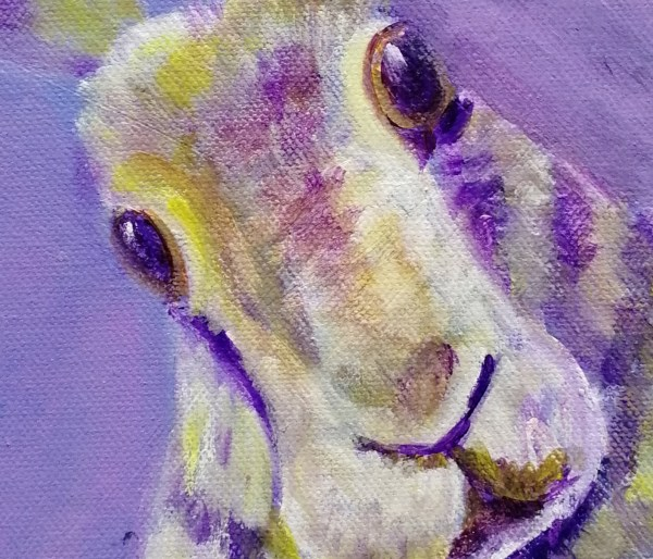 Purple hare painting, rabbit art, purple interior design, rabbit wall decor